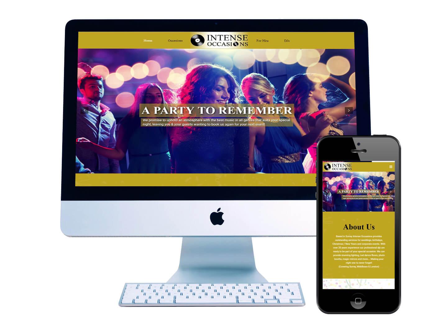 Intense Occasions DJ's - Website Design Dorking
