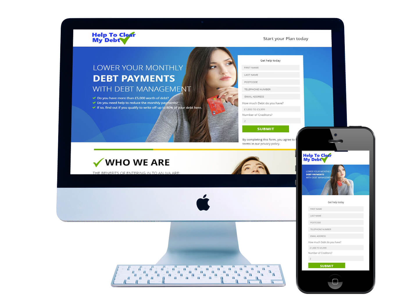 Help Clear My Debt - Website Design Dorking